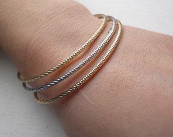 Gold Bangles, 14k Stacking Bangles, Twisted bangle bracelets, Layering Bracelet, Womens Bracelet