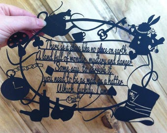 Mad Hatter Alice In Wonderland template for paper cutting -Personal And Commercial Use