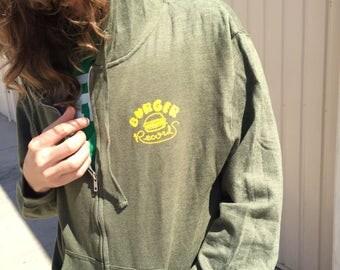 Burger Records Zip-Up Hoodie **Green**