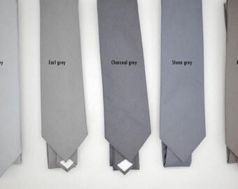 Solid monochrome grey neckties,neutral necktie,shade of grey theme wedding,groomsmen,men,page boys, ring bearer,neutral gray wedding