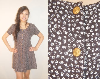 Ditsy Floral 90s Reconstructed Dress size Medium