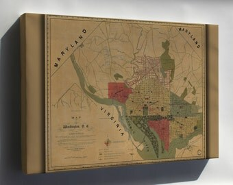 Canvas 24x36; Map Of Washington, D.C., And Environs 1887