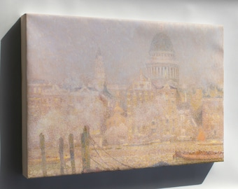 Canvas 24x36; Henri Le Sidaner St. Paul'S From The River Morning Sun In Winter