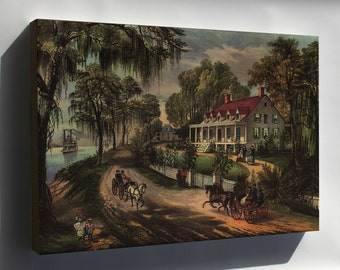 Canvas 24x36; Home On The Mississippi, 1871 Currier And Ives