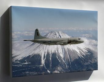 Canvas 24x36; P-3 Orion  Circles Mt. Fuji