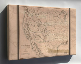 Canvas 16x24; Map Of Transcontinental Railroad Routes 1855