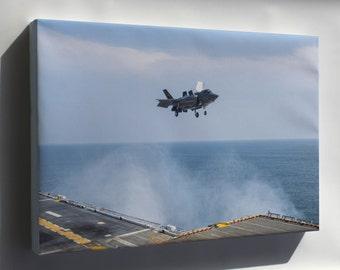 Canvas 16x24; Lockheed F-35B Lightning Ii Aircraft Uss Wasp (Lhd-1)
