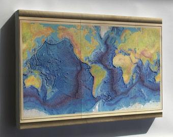 Canvas 16x24; Heezen-Tharp World Ocean Floor Map By Berann 1977