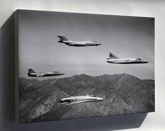 Canvas 16x24; F-101 Voodoo F-104A Starfighter, F-102A Delta Dagger, Super Sabre