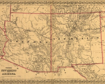 16x24 Poster; Colton'S Map Of New Mexico And Arizona 1873
