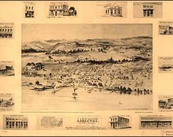 16x24 Poster; Map Of Lakeport, Lake County, California 1888
