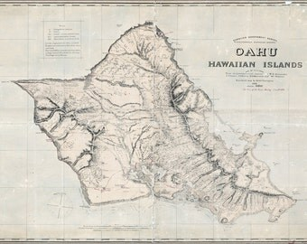 16x24 Poster; Map Of Oahu Hawaii 1898