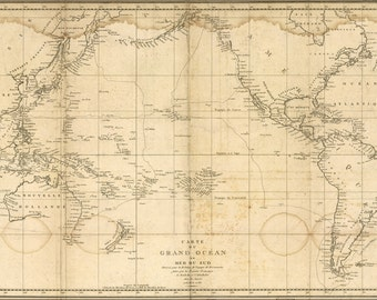 16x24 Poster; Map Of Pacific Ocean 1788