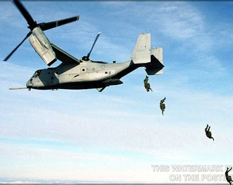 16x24 Poster; U.S. Marines Jump From An V-22 Osprey