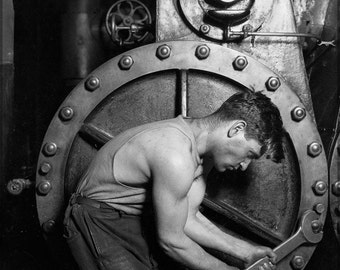 16x24 Poster; Power House Mechanic Lewis Hine, 1920. Power House Mechanic Working On Steam Pump