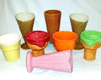 Vintage Ice Cream Cone,Sundae Cups,Set of 8,Mix and Match,Soda Fountain Glasses,Ice Cream Cone,Parfait,Malt Shop,Sundae Dish,Kawaii,Kitsch
