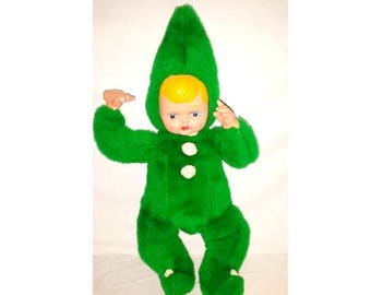 Vintage Rubber Face Baby Doll Plushie,Green,Elf Plushie Doll ,Plushie,Soft Body Doll,Shelfie,Bottle,Stuffed Baby,Gund,Knickerbocker, 1940s