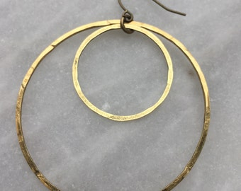Hammered Raw Brass Double Hoop Earrings
