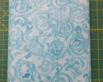 Blue fabric. blue swirls quilt quilting cotton (short bolt)