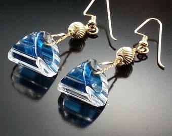 Vintage Glass Dangle Earrings Artisan Handmade Couture Estate Jewelry