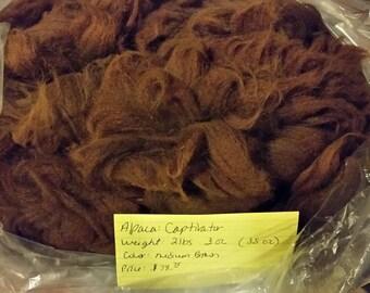 Alpaca Raw Blanket Fiber - Medium Brown