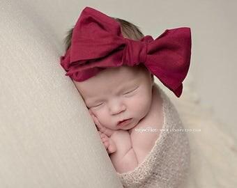 CRANBERRY Gorgeous Wrap- headwrap; fabric head wrap; red head wrap; boho; newborn headband; baby headband; toddler headband