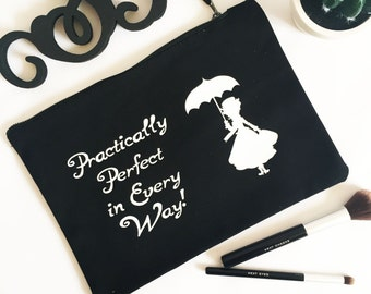 Large Make Up bag, Cosmetic Bags, gifts for her, Mary Poppins Black Cosmetic Bag - W530L