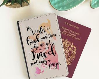 Passport Cover - Passport Case - Passport Wallet - World is a Book