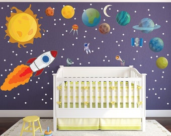 Cute Children's Solar System Wall Decals / Extra Large Solar System for Nursery Wall Decals / Huge Solar System Wall Decals - WDSET10288