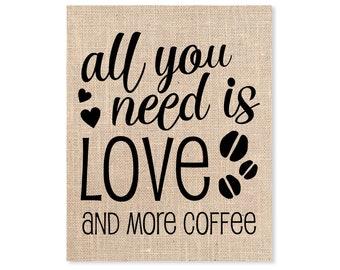 Coffee Burlap Print