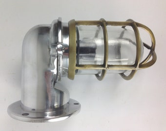 Aluminium Domed Nautical Passageway Light with Brass-Plate Cage