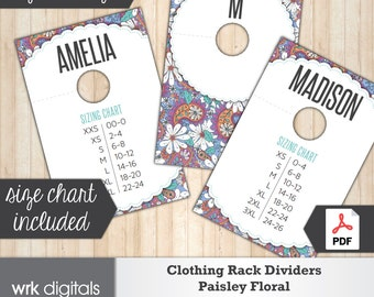 Clothing Rack Dividers, Fashion Consultant Marketing, Paisley Floral Design, PRINTABLE, INSTANT DOWNLOAD