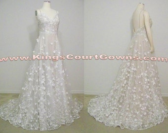 Replica Ivory & Nude Floral Lace Open Back Ball Gown with Beaded Waistline Wedding Evening Pageant Dress Gown