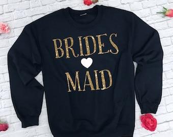 Wedding Sweatshirts. Bridesmaid Swetahshirts. Bachelorette Party Sweatshirts. Wedding Sweaters. Gold Bridesmaid Shirt.