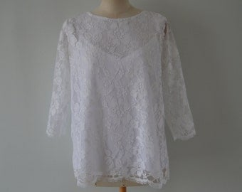 White bridal lace blouse sleeveless lace blouse