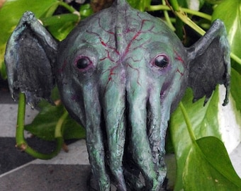 OOAK - Paper mache figure. Cthulhu. Hand made gothic decoration. Cosmic horror figure.