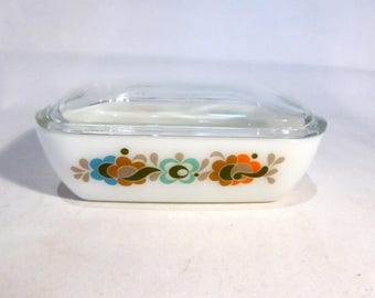 "JAJ Pyrex Individual casserole / butter dish in ""Carnaby"" design – original from the 1970s"