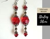 25% Off Coupon - Sterling Silver Earrings - Ruby Red Earrings - Vintage Bead Earrings - Winter Earrings - Red Crystal Earrings - OOAK