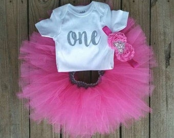 One Year Old Girls Birthday Outfit, Tutu Birthday Outfit, Girls Birthday Outfit, Girls First Birthday, Pink First Birthday Girl Outfit