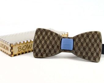 Wooden Bow Tie - ILLUSION - Gray Basswood - Clip On No Tie Bow Tie - Men Formal Wear