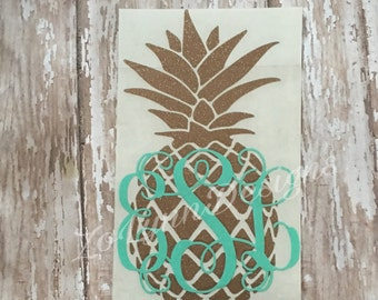 Glitter Pineapple monogram-Car Decal- Yeti- Decal