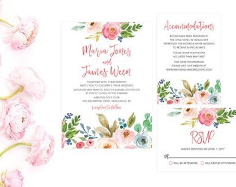 Summer Wedding Invitation Suite, Summer Wedding Invitation Set, Wedding Invitation Template, Wedding Invitation Printable, Wedding WTRTB