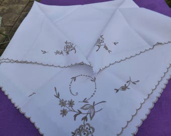 Cream Linen Supper / Tea Table Cloth Decorated with Brown Embroidery