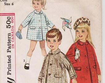 1960s Girls Coat Pattern SIMPLICITY 5685 Childs Size 6 Vintage Girls Coat Girls Retro Coat Raglan Sleeves Peter Pan Collar Girls Swing Coat