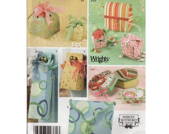 Gift Bag Pattern Gift Box Pattern SIMPLICITY 4320 UNCUT FF Fabric Gift Bags Wine Bag Pattern Wine Gift Bag Fabric Box Pattern Craft Pattern