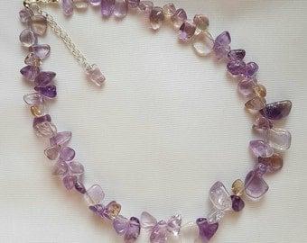 Ametrine (Amethyst & Citrine) Gemstone Necklace - Handmade Jewellery