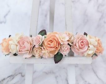 Peach flower crown - light color floral headpiece - hair accessories - hair wreath - halo - garland