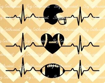 Football Heartbeat SVG, Football EKG Svg, Football Heart Svg, Football ECG Svg, Cricut, Dxf, Png, Cut File, Clip Art, Vector