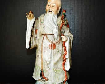 "1820""s Chinese Qing Dynasty Jingdezheng porcelain Shoulao Longevity Angel statue w. artist marked 嘉庆三多纹寿公像"