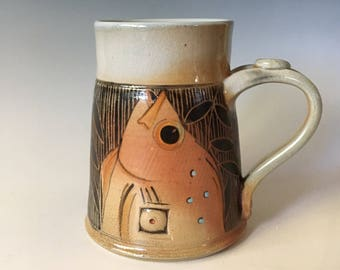 Pottery Beer Stein, Fish Stein, 18 ounce Large Coffee Cup, Sgraffito Carved, Large Beer Stein, Pottery Stein.